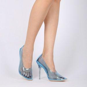 Shoes - Blue perspex pumps size 10
